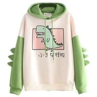 dinosaur oversized cartoon hoodie women fashion sweatshirt casual print korean style thicken sweatshirt winter dino hoodie tops
