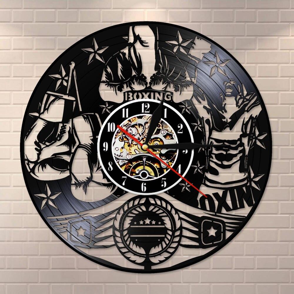 Boxeo Vingtage disco de vinilo LP Reloj de pared lucha deportes pared arte pugilista hombre cueva motivación decoración masculina Boxers regalo