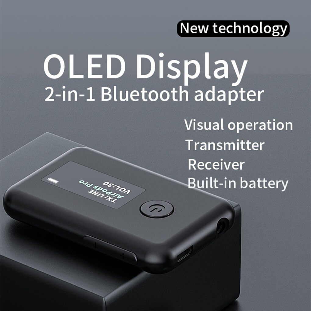 Bluetooth Adapter LED Screen Wireless Audio Bluetooth 5.0 Transmitter Receiver for PC TV Portable 3.5mm AUX Audio Adapter