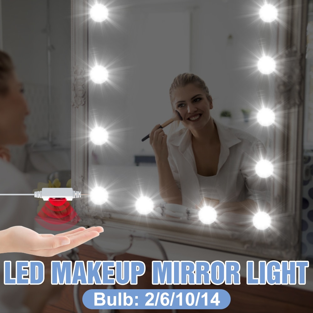 2 6 10 14 Bulbs Makeup Lamp Kit LED Bulb Vanity Mirror Light USB Bedroom 12V Hollywood Lamp Hand Sweep Dimmable Cosmetic Lights