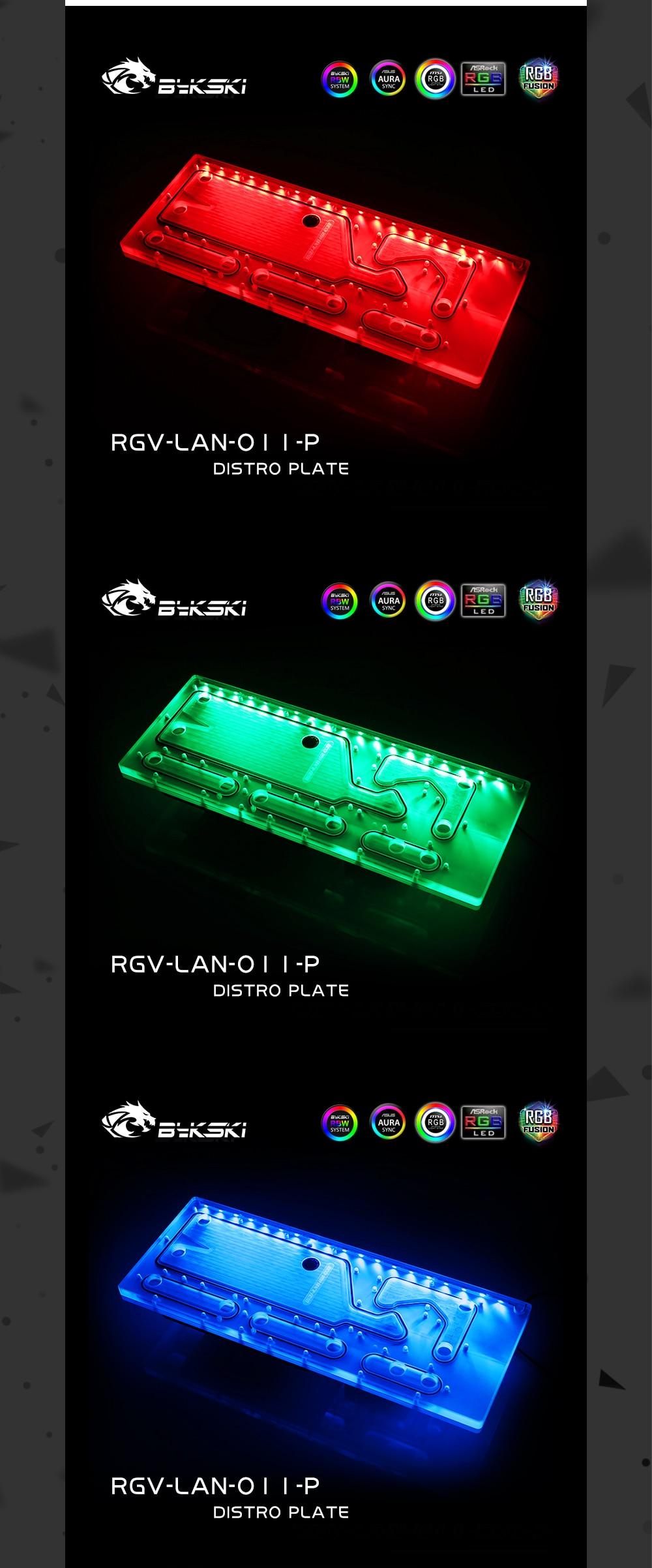 Bykski RGV-LAN-O11-P Distro Plate For Lian Li PC-O11 Dynamic Case, Bykski Waterway Board For Single GPU Building