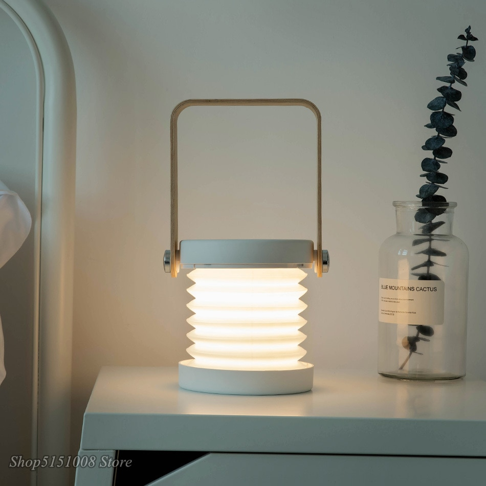 New Creative Wood Handle Foldable Night Lights Reading Lamp Portable Lantern Lamp Telescopic Folding Led Table Lamp USB Charging enlarge