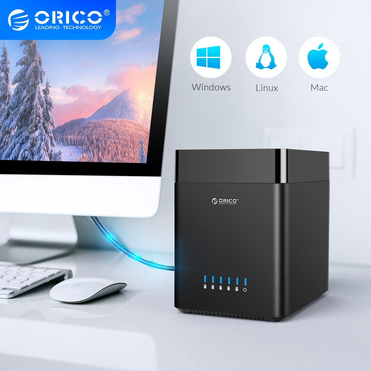 ORICO Hard Drive Docking Station 2/5 Bay USB3.0 Type-C 3.5 Inch HDD Enclosure With 12V Power Aadapter Magnetic Technology