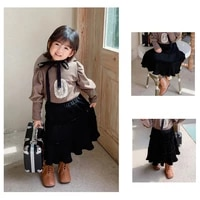 2020 vintage high waisted thicken cotton skirt women autumn winter kid 1 6years frill pleated ruffles patchwork long midi black