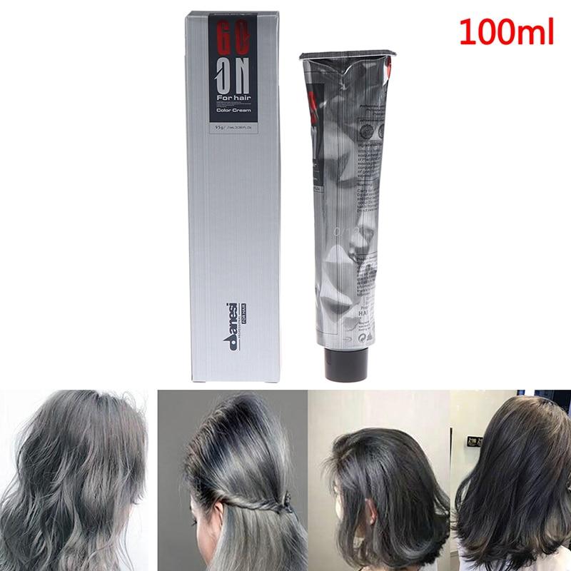 100ML Unisex DIY Grandmother Color Hair Cream Permanent Dye Light Gray Silver