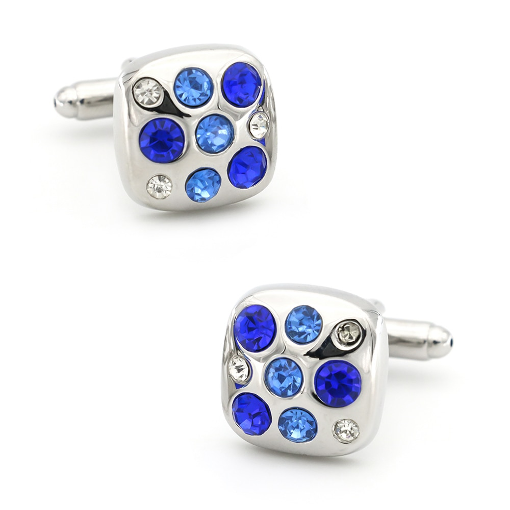 Luxurious Design Fashion Crystal Cufflinks Quality Brass Material Blue Color Cuff Links Wholesale &