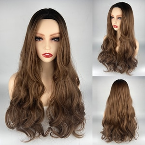 URCGTSA Long Water Wavy Synthetic Wigs Ombre Brown Middle Part Natural Hair Wigs For Women Cosplay Wigs Heat Resistant Fiber