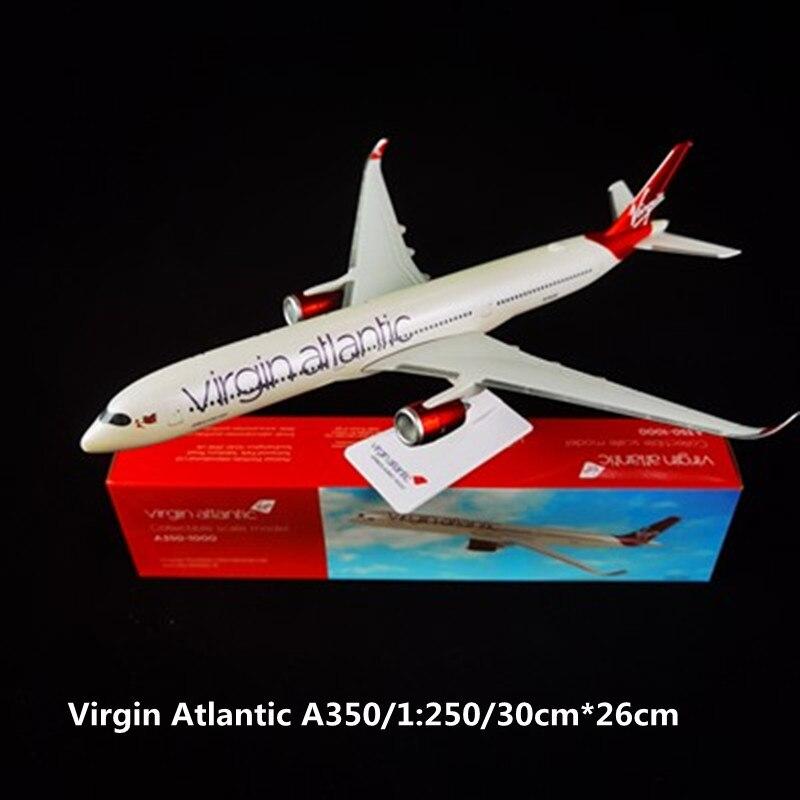 aeronave aereo virgem do atlantic 30cm 1250 aeronave aereo de plastico com montagem
