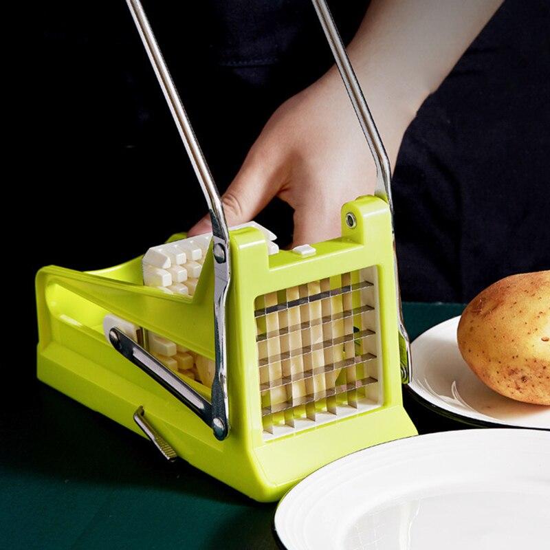 قطاعة البطاطس الفرنسية نوع الدفع شفرات على الوجهين قابلة للإزالة بالتساوي لسهولة التنظيف الخضار المقامر