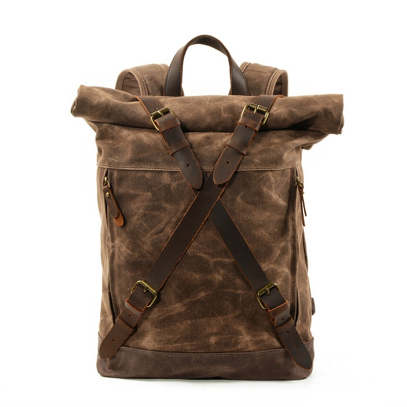 Vintage Canvas Leather Backpacks for Men Waterproof  Rucksacks Large Waxed Mountaineering Travel Pack