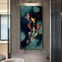 RELIABLI KUNST Koi Fisch Feng Shui Karpfen Lotus Teich Bilder Leinwand Malerei Wand Kunst Für Wohnzimmer Moderne Wohnkultur KEINE RAHMEN