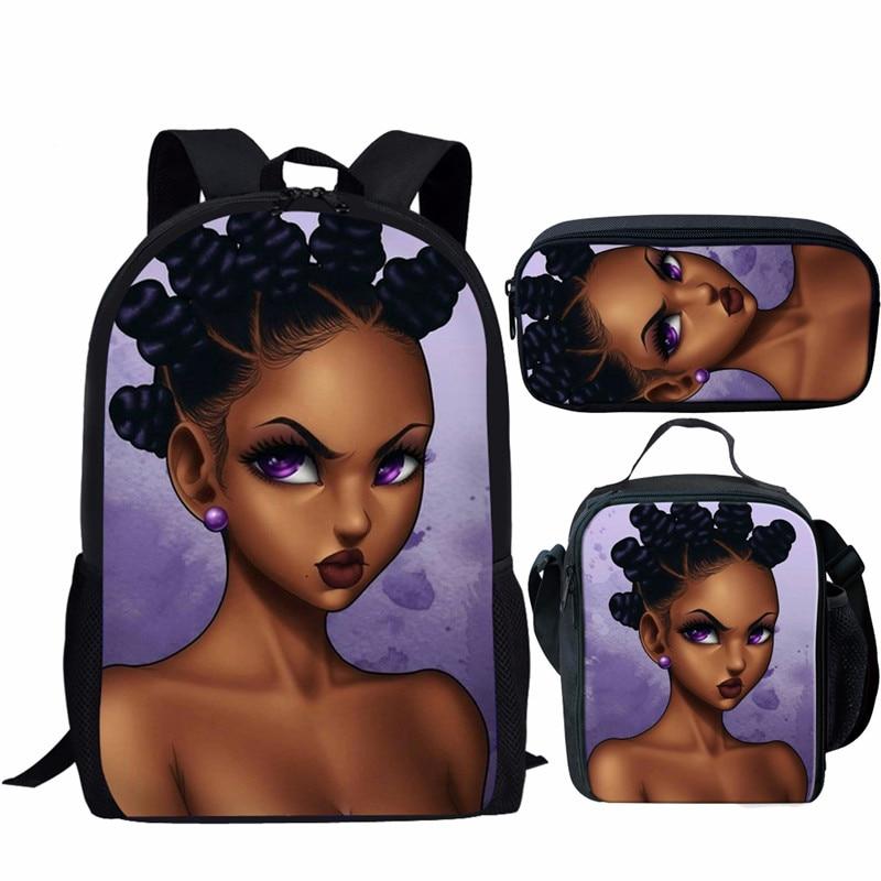 WHEREISART bolsas para libros de estudiantes con chicas negras Afro Magic Lady imprime 3 uds mochilas escolares para niños niñas mochila