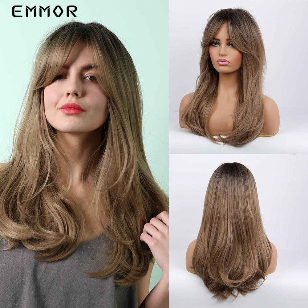 Ombre peruca de cabelo com franja para preto branco feminino uso diário perucas sintéticas macias empor onda natural longa preto à luz marrom