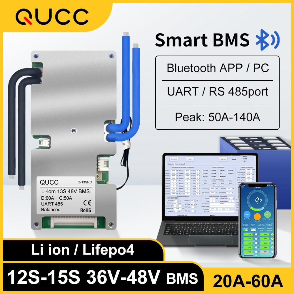 Qucc-BMS ذكي ، 48V ، 13S ، 14S ، 15S ، 12S ، 36V ، 20A ، 30A ، 40A ، 50A ، 60A ، Li ion ، Lifepo4 ، bms ، UART ، RS485 ، منفذ مع توازن ، تطبيق Bluetooth NTC