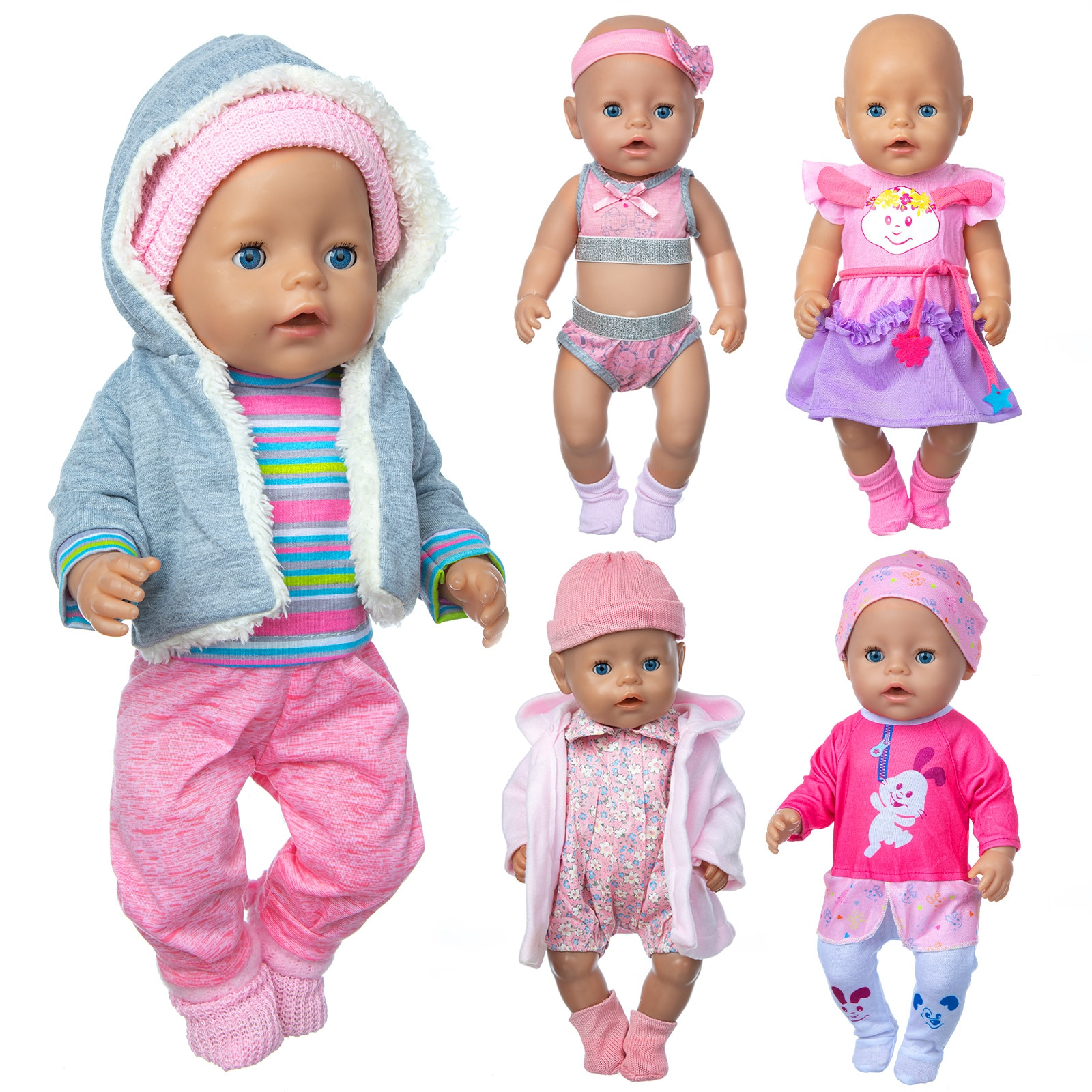 2020 Fit 18 inch Born New Baby Doll Clothes Accessories 43cm 4-piece Suit Rabbit Hair Band For Baby