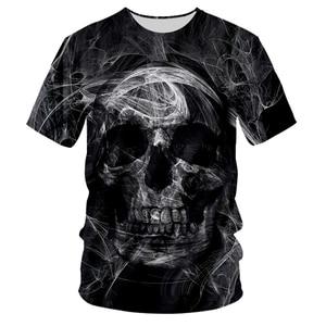 UJWI Fashion Skull T-shirt Smoke Black White Cool T-shirts Oversized Men's T Shirt O-neck Shirt 3D Summer Casual Clothes 5XL
