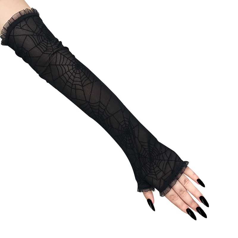 Gothic Cobweb Gloves Punk Sexy Mittens Lace Stretchy Mesh Arm Sleeve Floral Half-finger Net Yarn Gloves Sun Protection Gloves