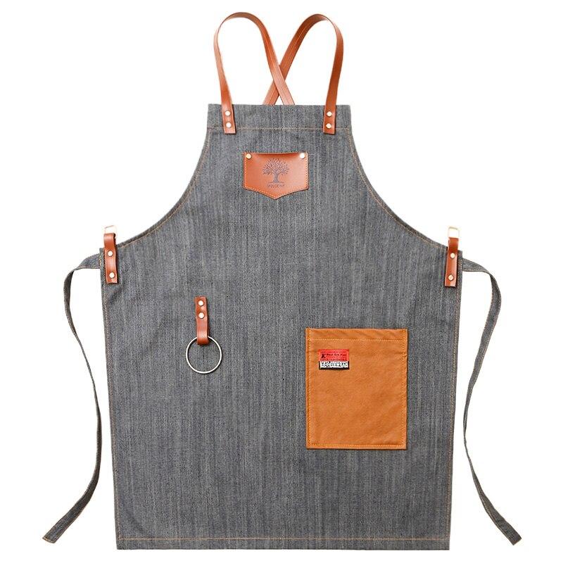 Cowboy apron Korean fashion hair barista tea shop waiter overalls men's custom LOGO printing