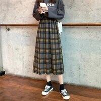 retro hong kong style pleated skirt female autumn 2021 new high waist all match girl oversized pleated skirt a line streetwear