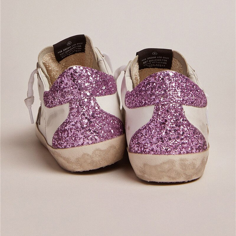 2021 Autumn New Parent-child Sneakers Product First Layer Cowhide Distressed Dirty  Purple Sequins Star Children's ShoesQZ53 enlarge