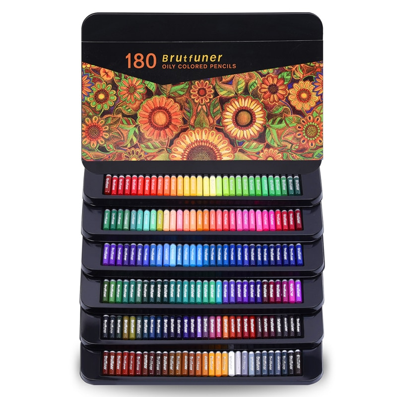 Colored Pencils Professional Set of 180 Colors, Soft Wax-Based Cores Ideal for Drawing Art Sketching Shading & Dyeing Tin Box