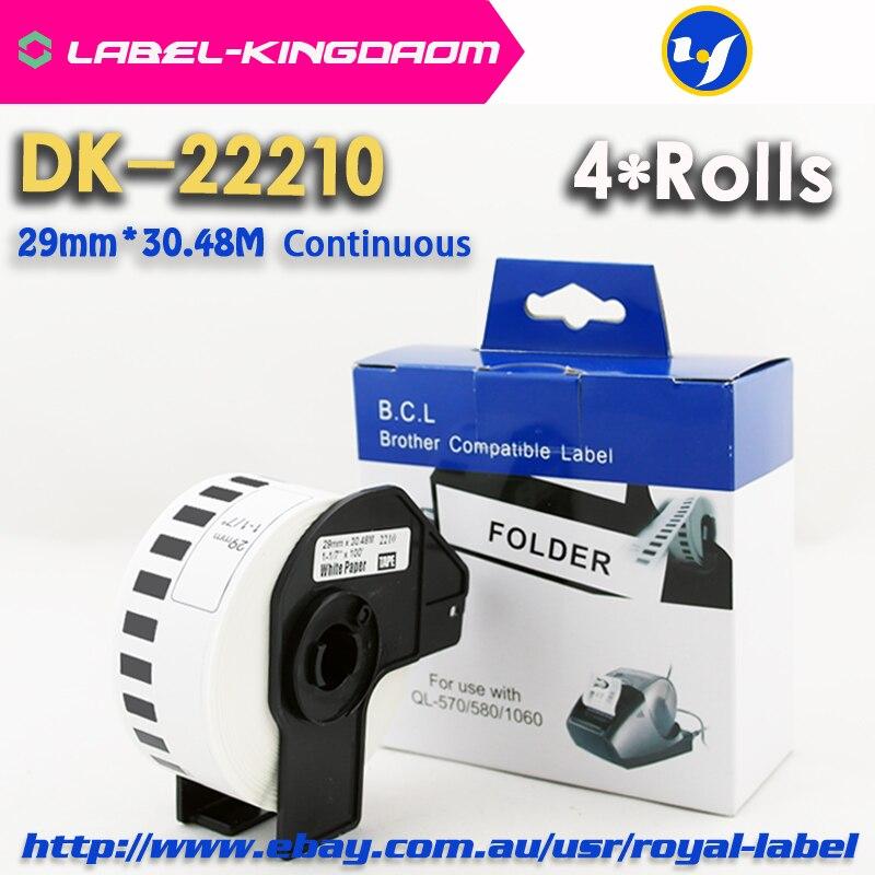 4 لفات عام DK-22211 التسمية 29 مللي متر * 15.24M المستمر متوافق لأخيه طابعة QL-570/700 جميع تشمل البلاستيك حامل