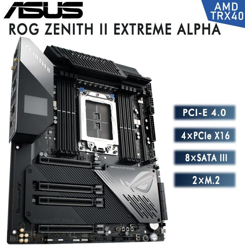 Motherboard ASUS ROG ZENITH II EXTREME ALPHA New Socket sTRX4 ddr4 256GB PCI-E4.0 x16 M.2 AMD TRX40 For Desktop E-ATX Mainboard