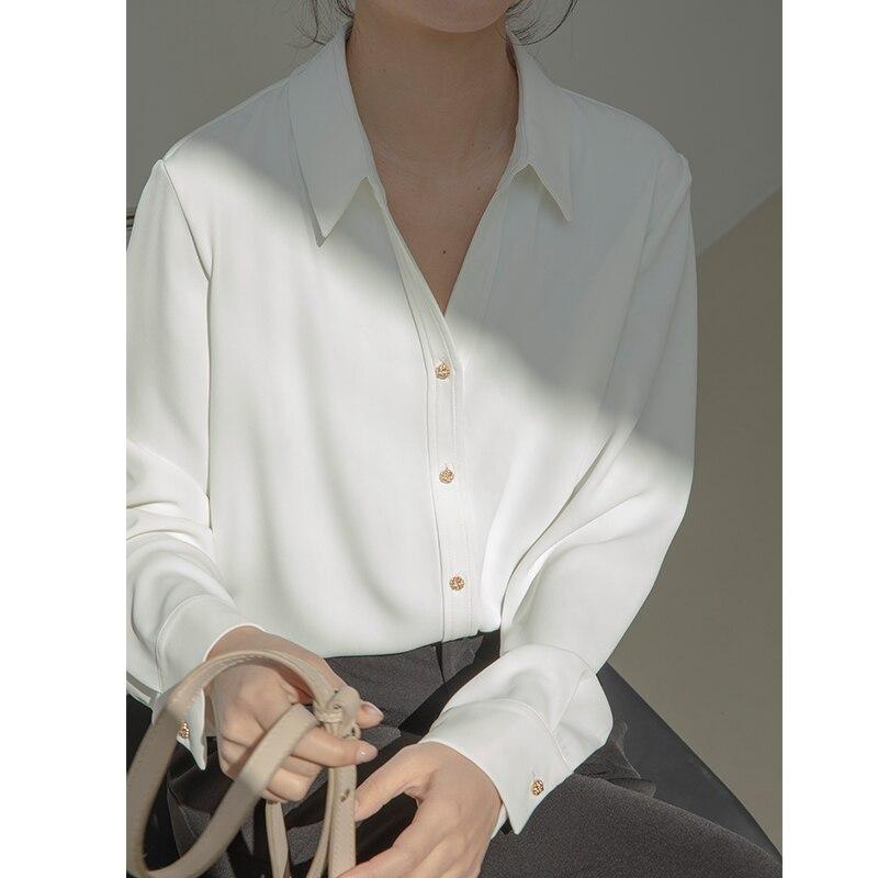 white v-neck shirt long sleeve spring summer women blouse 9181#
