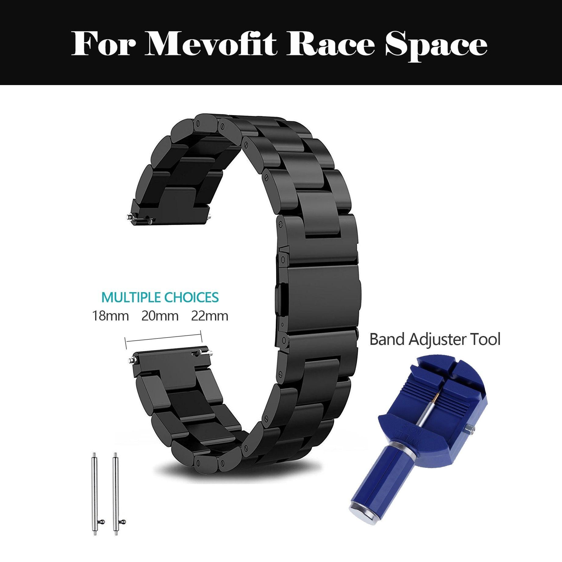 Correa de reloj de acero inoxidable 18mm 20mm 21mm 22mm 23mm 24mm correa de reloj de Metal relojes de pulsera para Mevofit Race Space