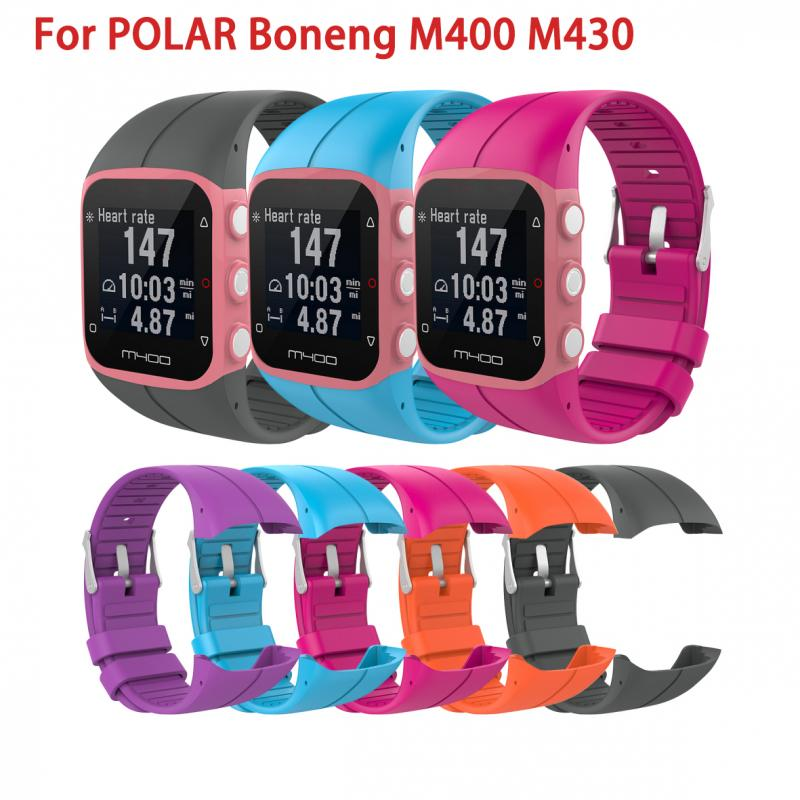 10 cores silione pulseira para polar boneng m400 m430 banda inteligente universal pulseira de pulso macio pulseira de fitness acessórios inteligentes