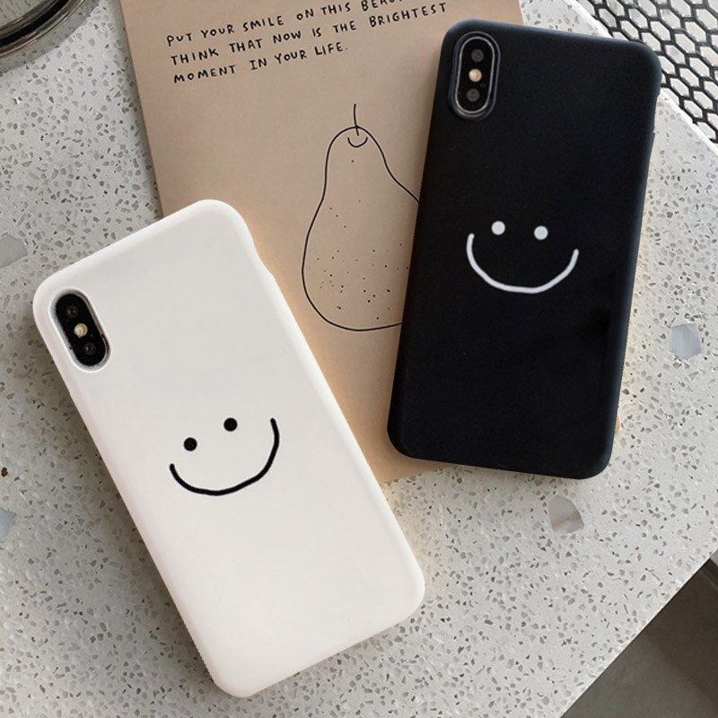 GYKZ moda Simple sonrisa cara pareja caso para iphone 11 Pro XS MAX XR X 7 6 6s 8 Plus negro blanco silicona teléfono cubierta suave bolsa