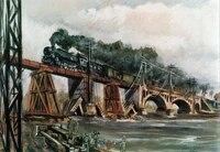 Affiche Vintage de Train sur le pont en metal  signe en etain  decoration de maison  salon  chambre a coucher  couloir  panneau de decoration de cinema