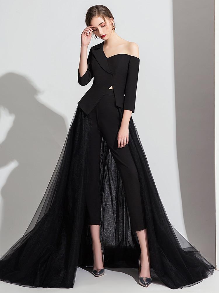Elegant Evening Dresses Long Black/White Jumpsuit Long Pant Jumpsuit Long Sleeve Formal Dress V Neck Jumpsuits Dubai Prom Gown