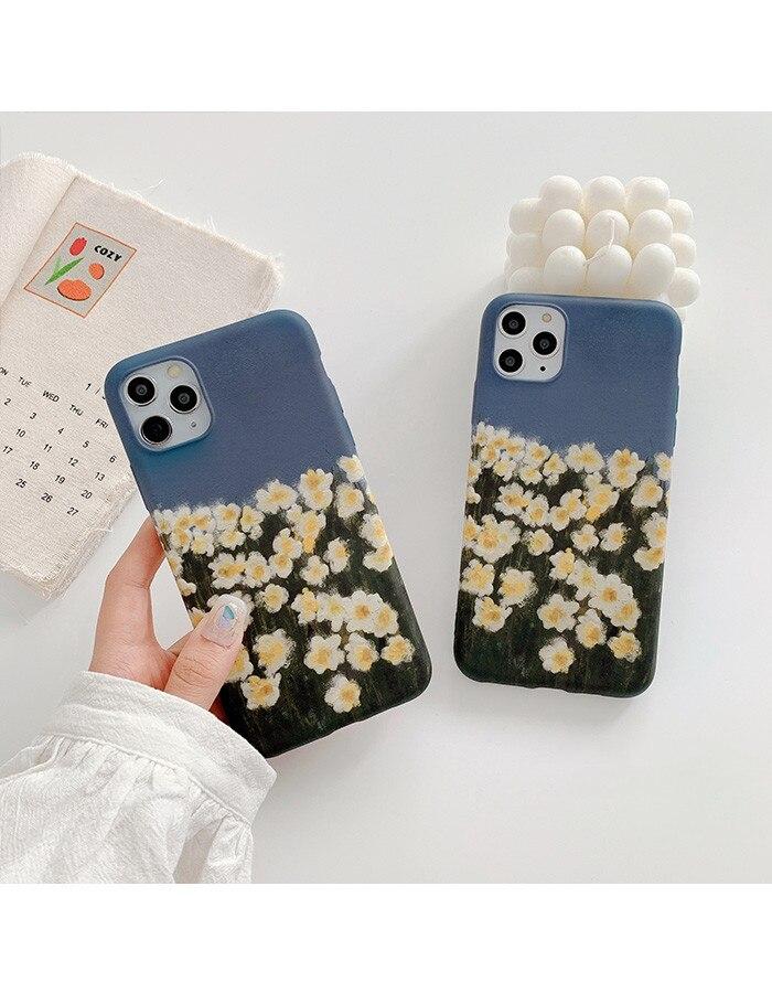 Pintura al óleo de flores para iPhone 11Pro / Max anti-caída X / XS/XR, carcasa de teléfono móvil 7p/8plus, funda protectora de silicona