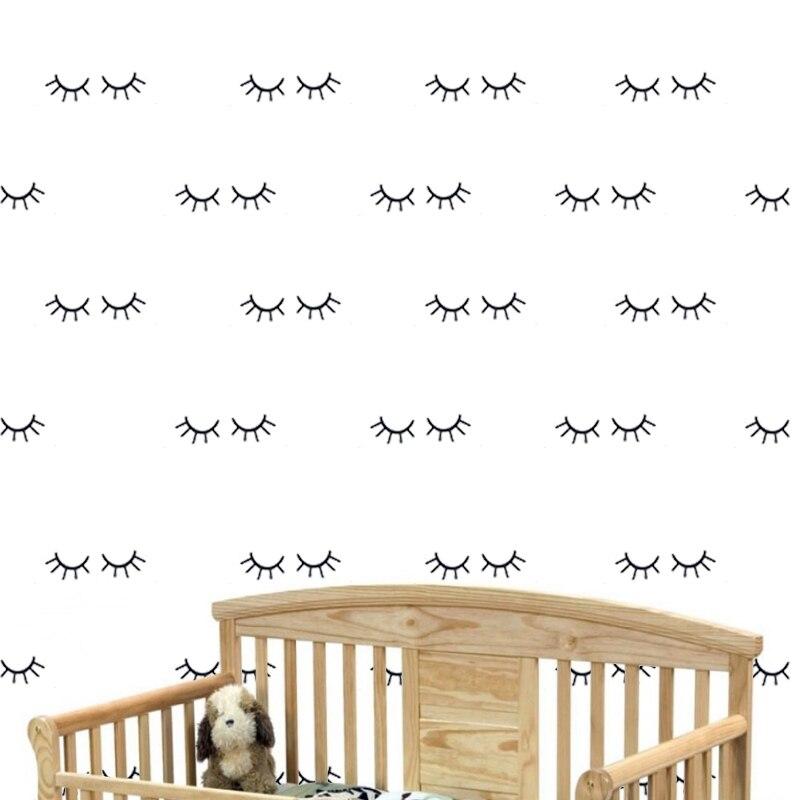 Drop ship 24 szt. Zdejmowane śpiące oczy naklejki ścienne dla dzieci przedszkole dekoracja sypialni
