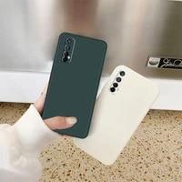 luxury straight edge square liquid silicone phone case for oppo realme 6 7 x7 x50 pro 7i soft tpu bumper protective back cover