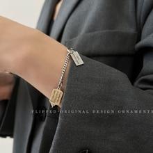 Hip-Hop Square Plate Titanium Steel No Fading Splicing Bracelet Personalized Cold Style Design Simpl