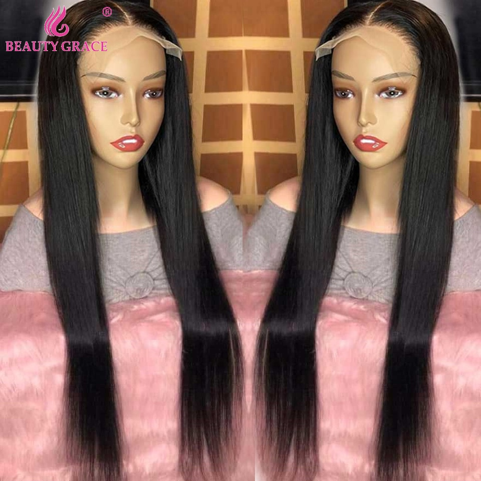 Lace Frontal Wig 30 Inch Lace Front Wig Human Hair PrePlucked Bone Straight Lace Human Hair Wigs 4X4 Lace Closure Wig