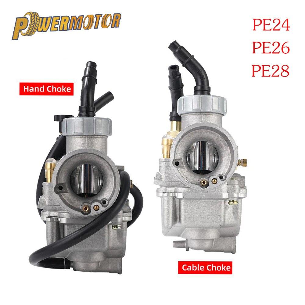 Powermotor-мотоцикл Карбюратор Carb PE24 PE26 PE28 24 мм 26 мм 28 мм авто Руководство плоская горка для скутера мопеда ATV Dirt Bike