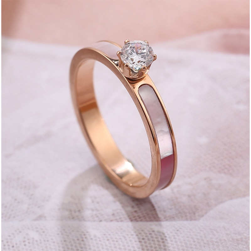 Luxury Shell Wedding Rings Accessories Jewel Ring Fashion Jewelry Engagement Lover Valentine Lovers Birthday Couples Party Gifts