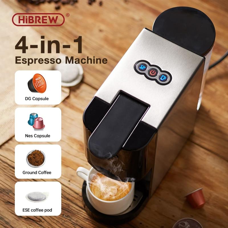 HiBREW Кофемашина 4in1 несколько эспрессо капсулы Dolce Milk & с фильтром для кофемашины Nespresso и ESE Pod & порошок Кофе чайник из нержавеющей стали Outook H3