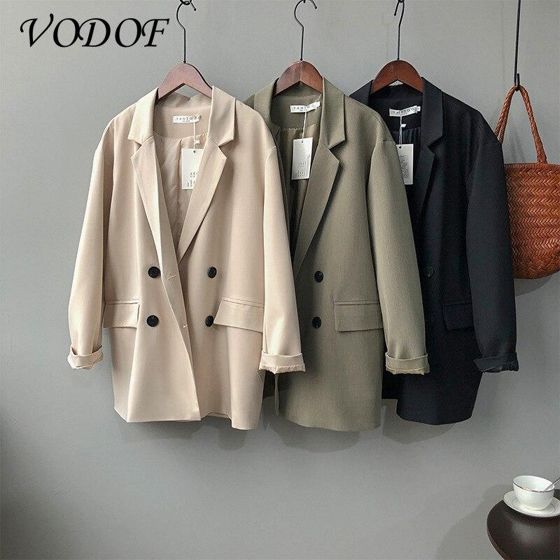 VODOF Spring Pure Color Elegant Blue Suit Jacket Women's Jacket Women Korean Loose V-neck Long-sleeved Cardigan