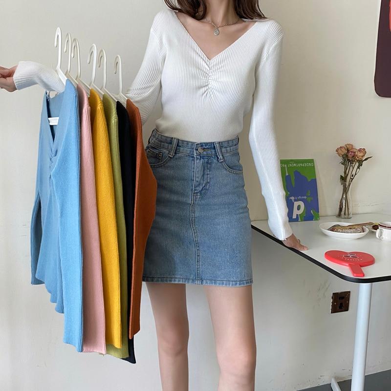 Женская вязаная кофта Make firm, новая осенняя модная кофта с V-образным вырезом и длинным рукавом, для студенток