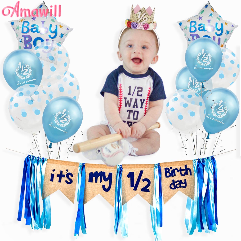 Metade decorações de aniversário ballons kit meu 1/2 balões de aniversário banner chapéu 6 meses de idade chá de fraldas 1/2 birthay party suprimentos