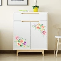 3d peony flowers wall stickers removable vinyl decals for furniture toilet fridge sticker wallpaper
