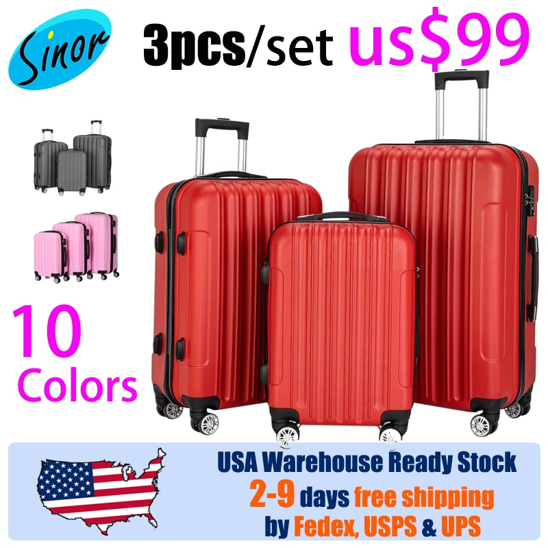 【Sinor】Yes, 3pcs only 99.99/set 3-in-1 Multifunctional Large Capacity Traveling Storage Suitcase Pink