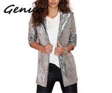 Genuo Neue frauen Jaket Herbst Mode Frauen Silber Pailletten Mäntel drehen-unten Kragen Langarm Outwears Strickjacke Jacken