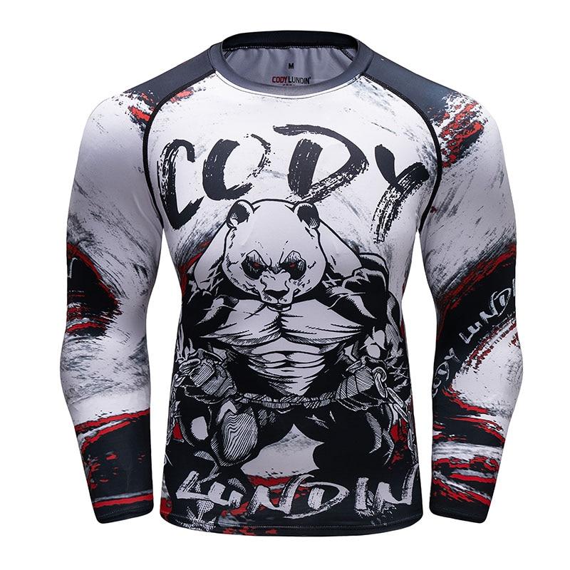 Nova marca ufc bjj mma trabalhar para fora compressão rashguard t camisa dos homens exercício panda 3d calças de fitness bodybuild cruz ajuste rash guard