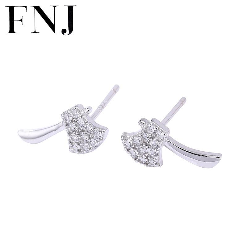 FNJ DIY hacha 925 pendientes de joyería de plata pura Original S925 Stud de plata esterlina pendiente para las mujeres de Zircon blanco