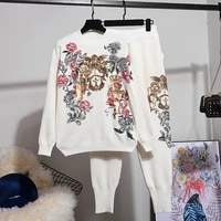 sequins flowers knitted tracksuit set women loose gray black white pullover sweater pencil pants knit two piece outfits female